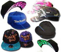 DJ and Music Flat Peak Slapback Caps and Hats