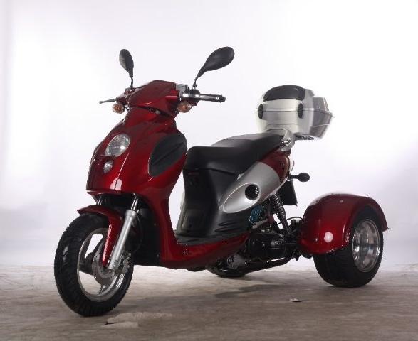 Cms 3 wheel 49cc 50 bulls eye trike moped gas motor for Motor wheelchair for sale