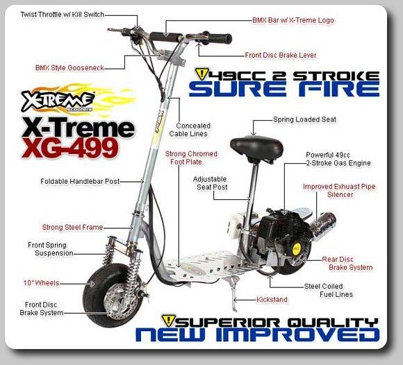 X-Treme XG-499 Gas Scooter - 2 Stroke -30MPH - FREE SHIPPING ( XG - 499 )
