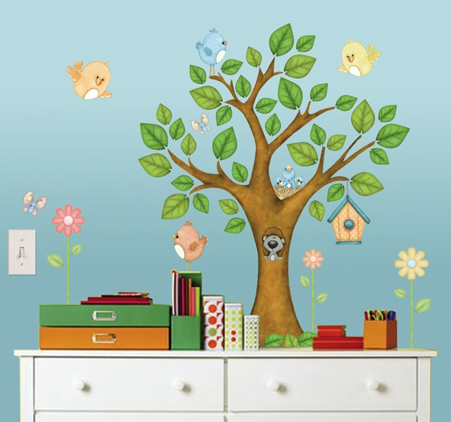 Tree Tops Deluxe Wall Art - Vinyl Peel and Stick Wall Decal
