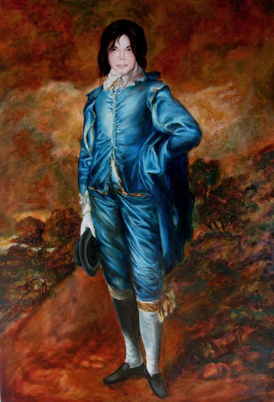 Michael Jackson as The Blue Boy, Oil painting by John Entrekin