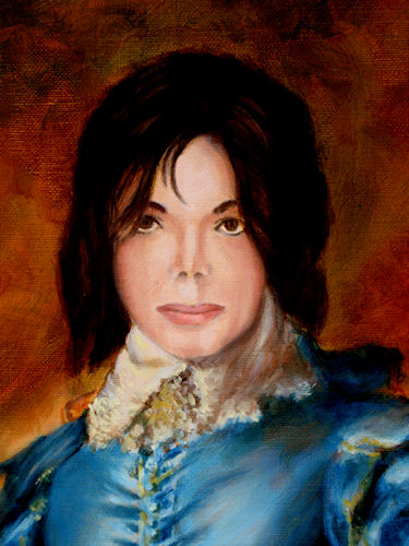 Close up Face of Michael Jackson as The Blue Boy.