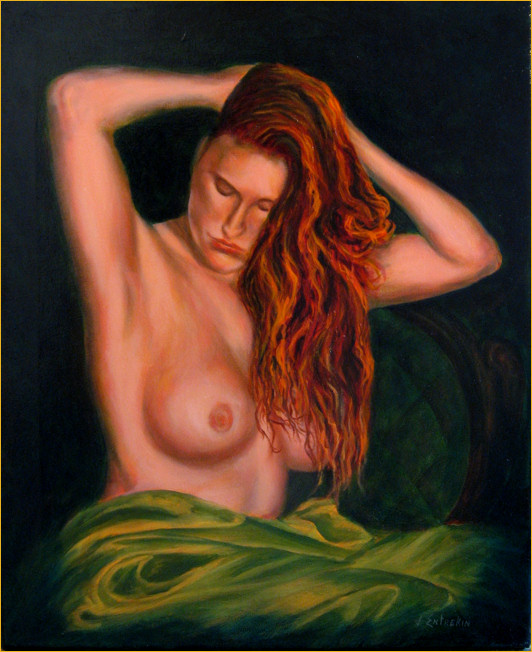 Dulcinea, with hands in hair and a green drape, oil painting by John Entrekin