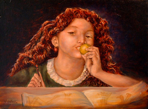 Girl with Apple, Oil on canvas