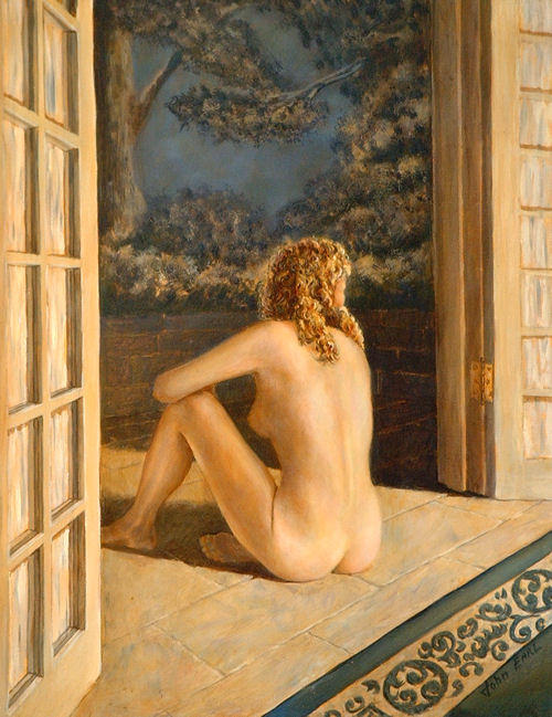 Nude in Doorway, Oil on canvas