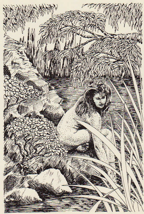 """Woman by Pond"" pen & ink by John Entrekin"
