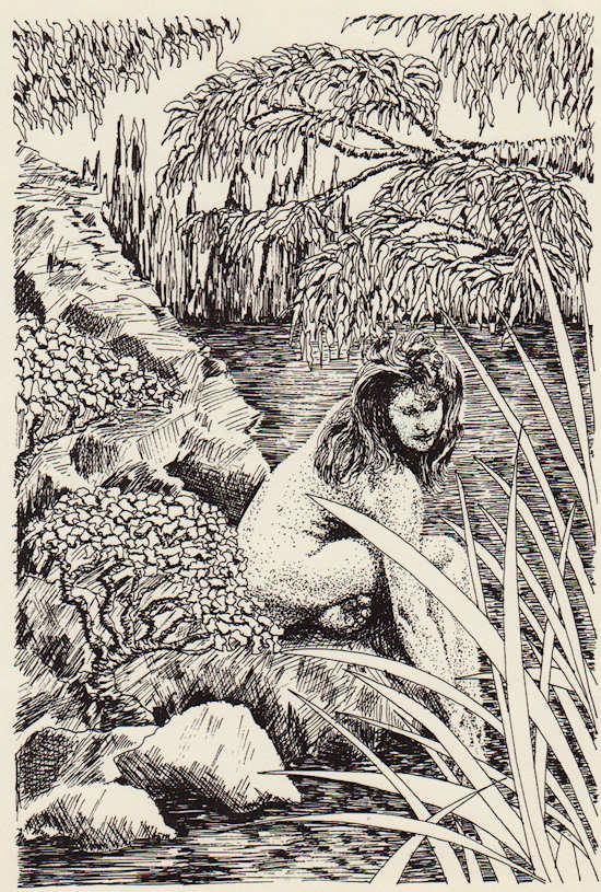"""""""Woman by Pond"""" pen & ink by John Entrekin"""