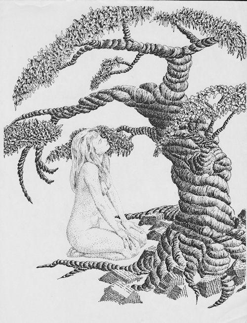 """""""Nude Sitting Under Tree"""" Pen & Ink by John Entrekin"""