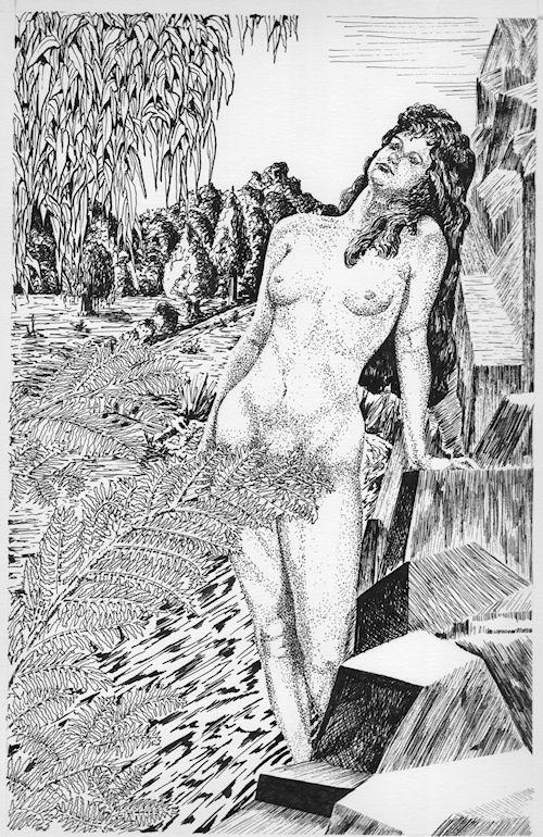 Woman standing by Rocks, pen & ink by John Entrekin