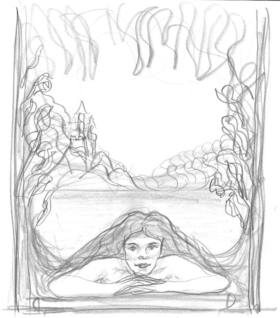 Woman dreaming, sketch by John Entrekin
