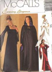 mccalls 2810 out of print halloween costume pattern renaissance evil queen dress wedding gown angel sleeves cloak 8 12