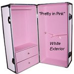 Pretty in Pink Doll Trunk with White Exterior