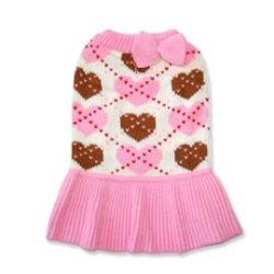 Preppy pink with hearts sweater dog dress