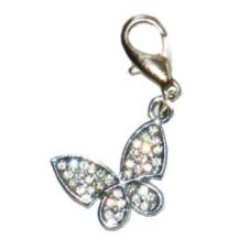 Rhinestone Butterfly Dog Collar Charm