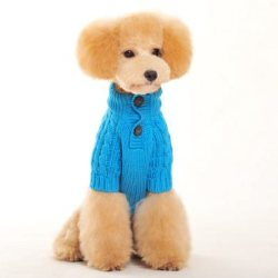 Blue Classic Cable Knit Dog Sweater