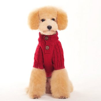 red classic cable dog sweater
