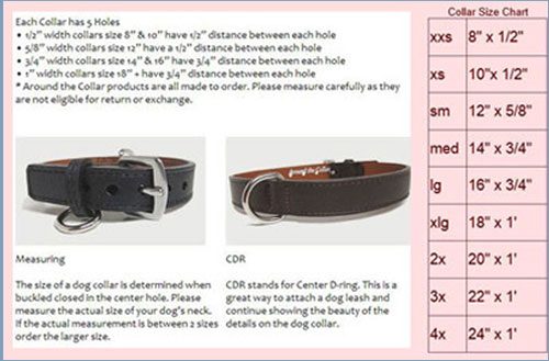 Around the Collar dog collar size chart