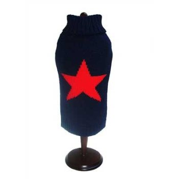 blue and red star dog sweater