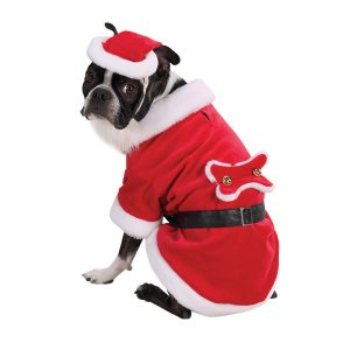 red and white velour santa claus paws xmas costume