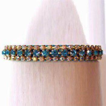 Aqua And Clear Crystal three row Diamond Collar