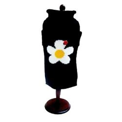 black dog sweater with a yellow and white daisy and ladybug