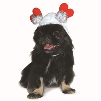 white hat with red standing hearts for dogs