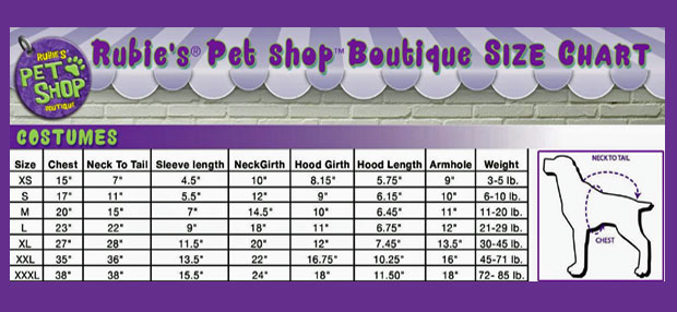 RUBIES-DOG-COSTUMES-SIZE-CHART