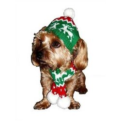 dallas dog Red Holiday Dog Hat and Candy Cane Scarf