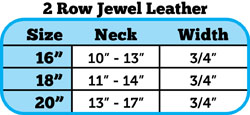 two row bling collar size chart