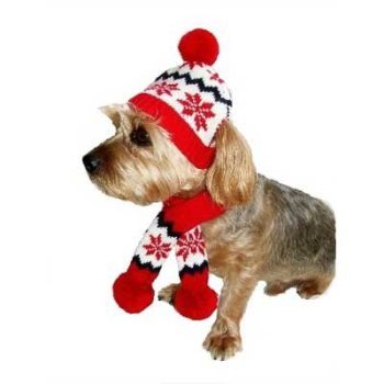 dallas dog red and white Snowflake Dog Hat and Scarf