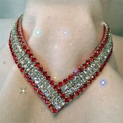 Diamond & Ruby  V Shaped Dog Collar
