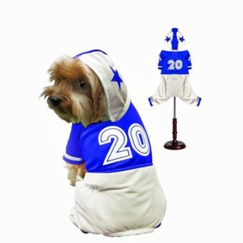 blue and white dog football player costume