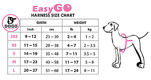 easygo small dog harness size chart