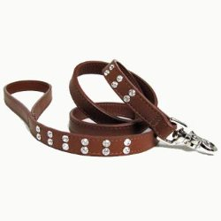 Double Row of crystals on leather dog Bling Leash