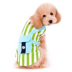 Vertical green and white striped boy dog tank