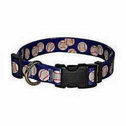 baseballs design on a dog collar