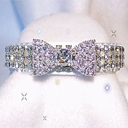 Clear Diamond like swarovski crystals  Bowtie Collar