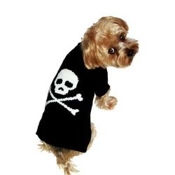 black with white skull and bones Jolly Rogers Boy dog sweater
