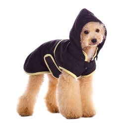 dog classic black trench coat with hood