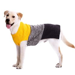 color block grey black and yellow dog sweater