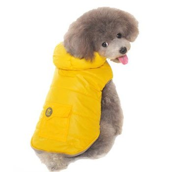 Sleeveless sports yellow dog parka coat