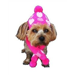 Pink Hearts Dog Hat & Scarf