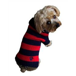 green and blue Rugby  Dog Sweater with shawl neck and paw logo