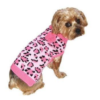 Pink with Leopard spots Dog Sweater