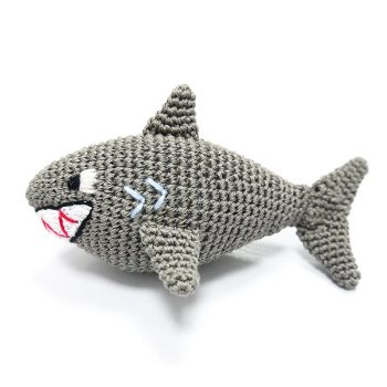 dogo grey hand knit Shark Dog Toy