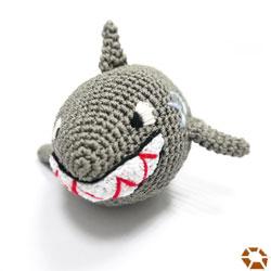 dogo grey hand knit Shark Dog Toy