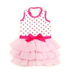 pink sweater pretty pink summer polks dot and ruffles dog dress
