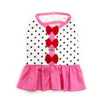 pink polka dot with bow summer dog dress