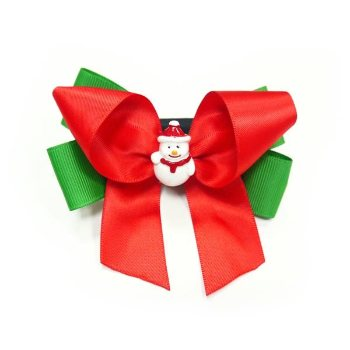 red and white Christmas dog collar bow