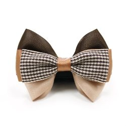 brown and beige easybow collar dog bowtie